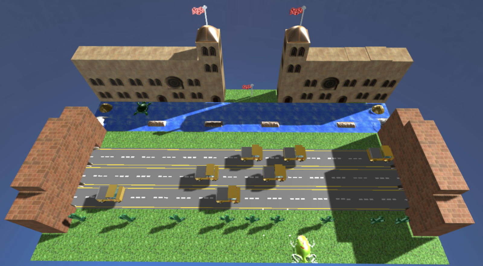 3D frogger game with a castle