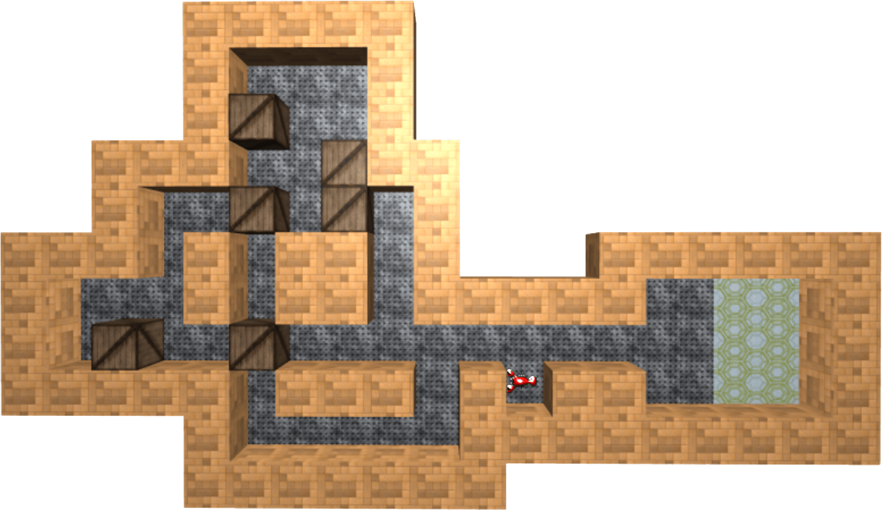 A maze like world with boxes and a movable crab